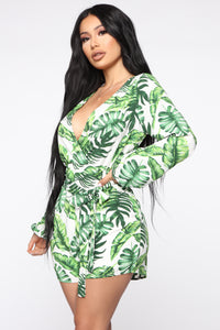 Take Me To The Tropics Romper - White/Green