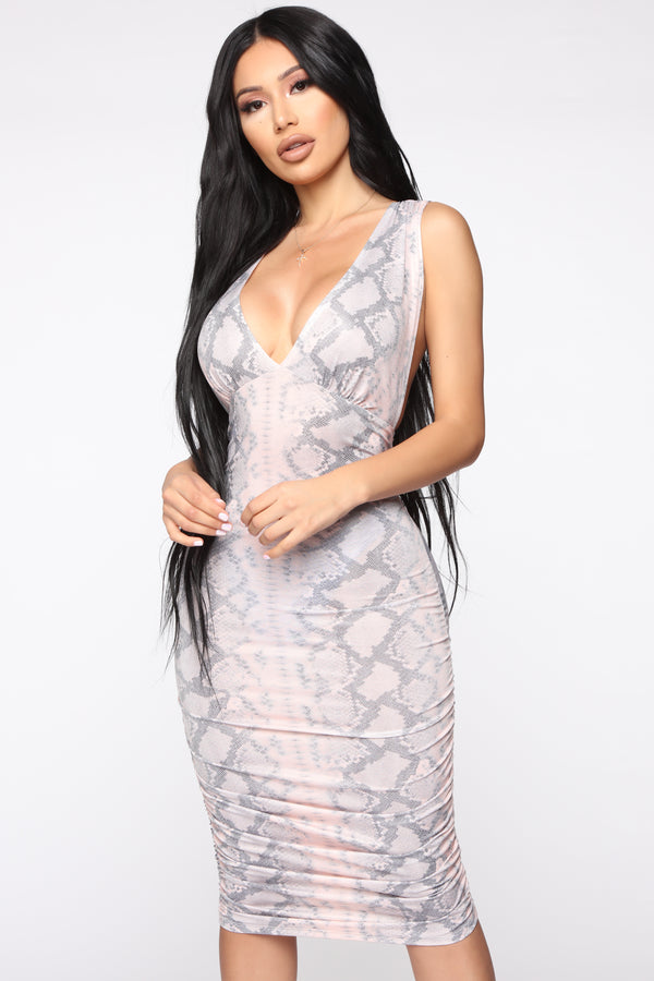 38309225ef9 Watch Out Snake Print Midi Dress - Blush Combo