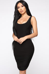 Fun For One Ruched Mini Dress - Black