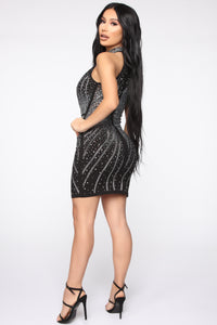 Moment Of Desire Studded Dress - Black Angle 4
