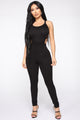 No Time Wasted Strappy Jumpsuit - Black