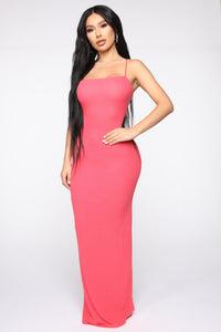 You Can Unravel Me Ribbed Maxi Dress - Coral