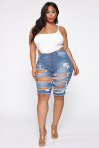 Doll Parts High Rise Bermuda Shorts - Medium Wash