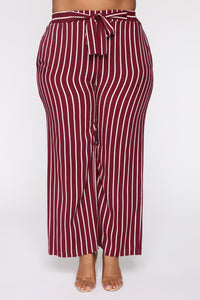 Clarice Striped Pants - Burgundy/Combo