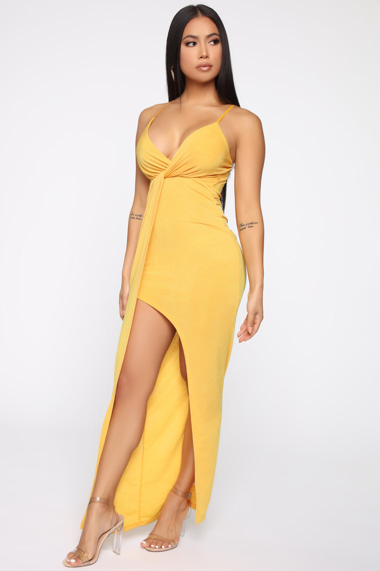 That Special Someone Twist Front Maxi Dress - Gold