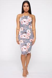 Fields Of Love Floral Midi Dress - Blue/combo