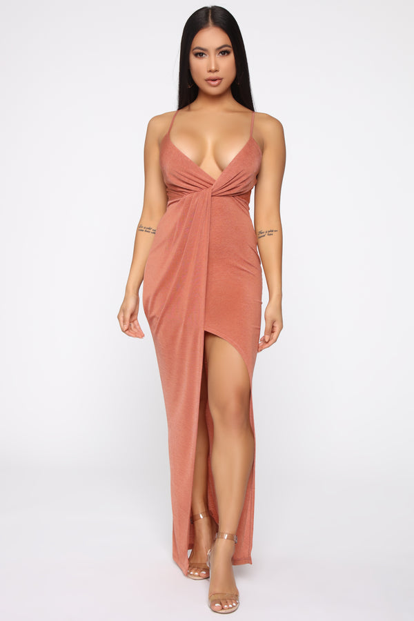 cc3a12dc51 That Special Someone Twist Front Maxi Dress - Rust