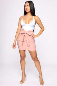 Knot Your Girl Mini Skirt - Mauve Angle 2