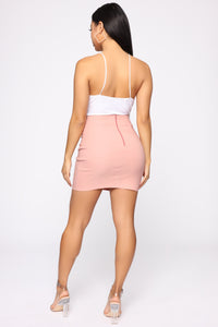 Knot Your Girl Mini Skirt - Mauve Angle 5