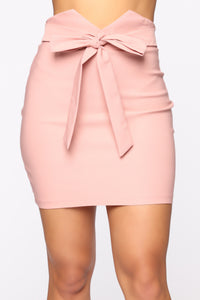 Knot Your Girl Mini Skirt - Mauve Angle 1