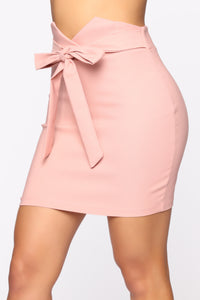 Knot Your Girl Mini Skirt - Mauve Angle 4