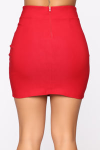 Knot Your Girl Mini Skirt - Red