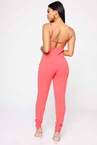 Win You Over Lace Jumpsuit - Coral