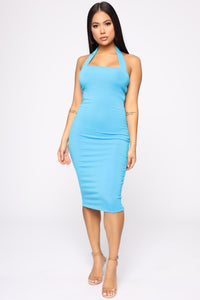 Janne Ribbed Dress - Turquoise Angle 2