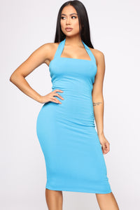 Janne Ribbed Dress - Turquoise Angle 1