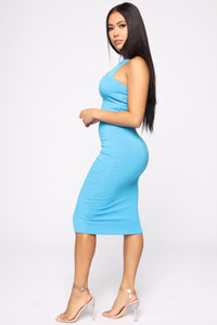 Janne Ribbed Dress - Turquoise Angle 3