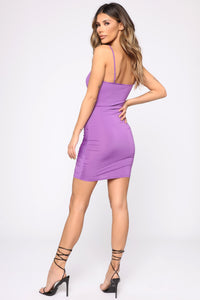 Shanghai Ruched Dress - Purple Angle 4