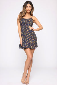 Ari Floral Babydoll Dress - Navy Floral