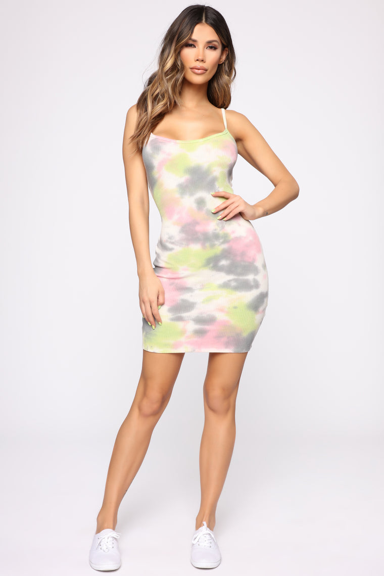 Trying To Forget Tie Dye Dress - Grey Multi