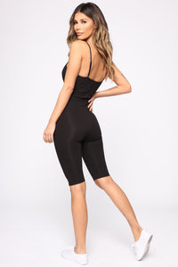 Ride It Out Biker Short Romper - Black Angle 4