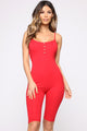 Ride It Out Biker Short Romper - Red