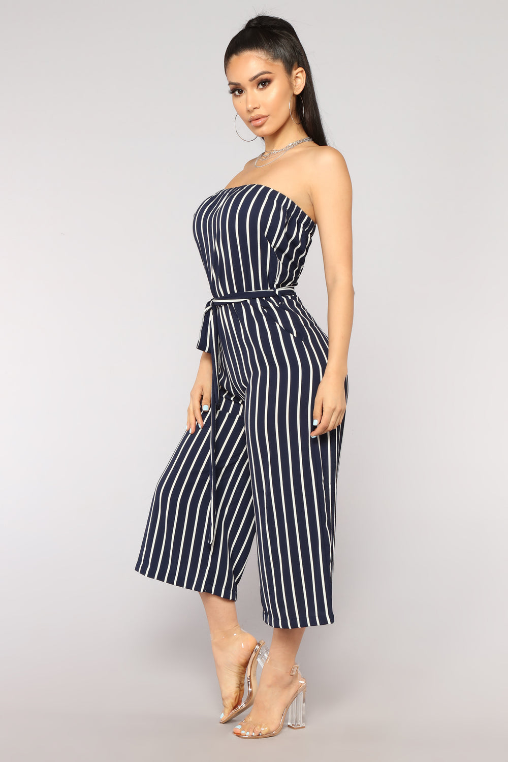 Across The Pond Striped Jumpsuit - Navy/White
