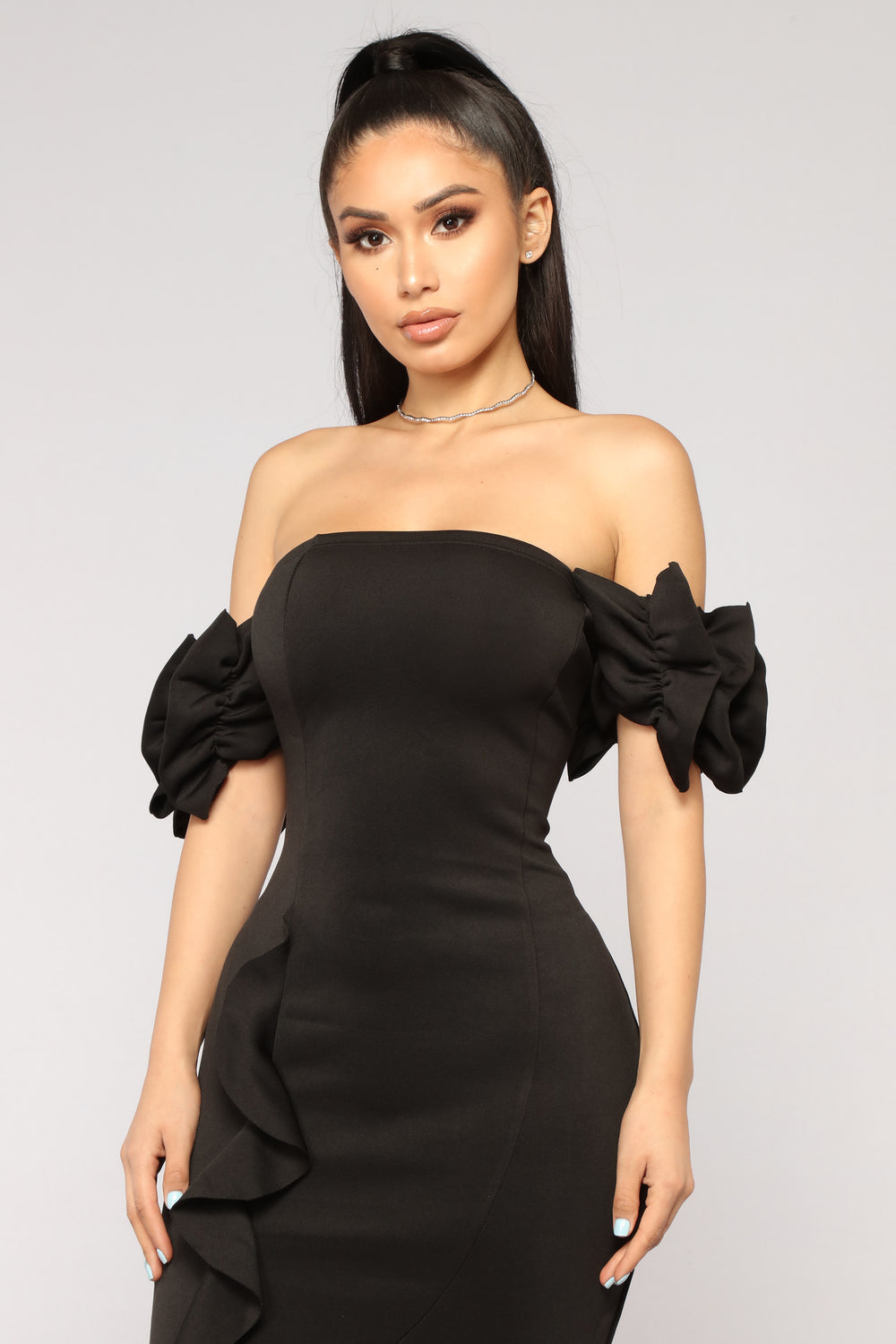 Sweet And Sassy Midi Dress - Black