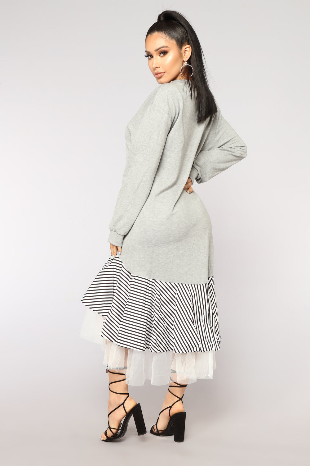 Ruffle Your Feathers Midi Dress - Heather Grey