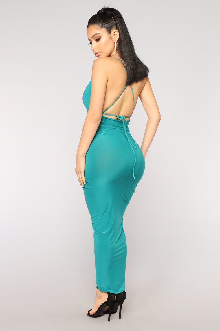 Capricorn Deep V Neck Dress - Jade