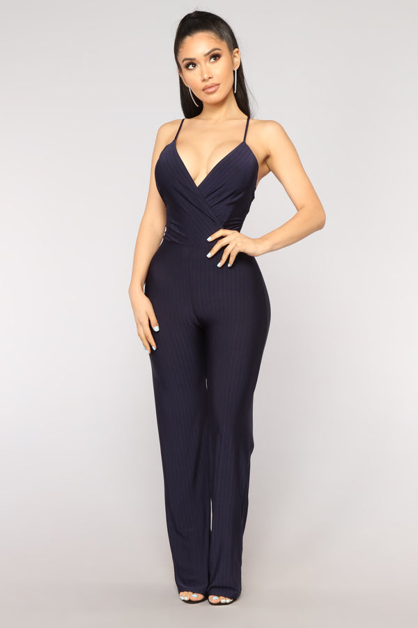 fec6455cb7 Press Rewind Stripe Jumpsuit - Navy