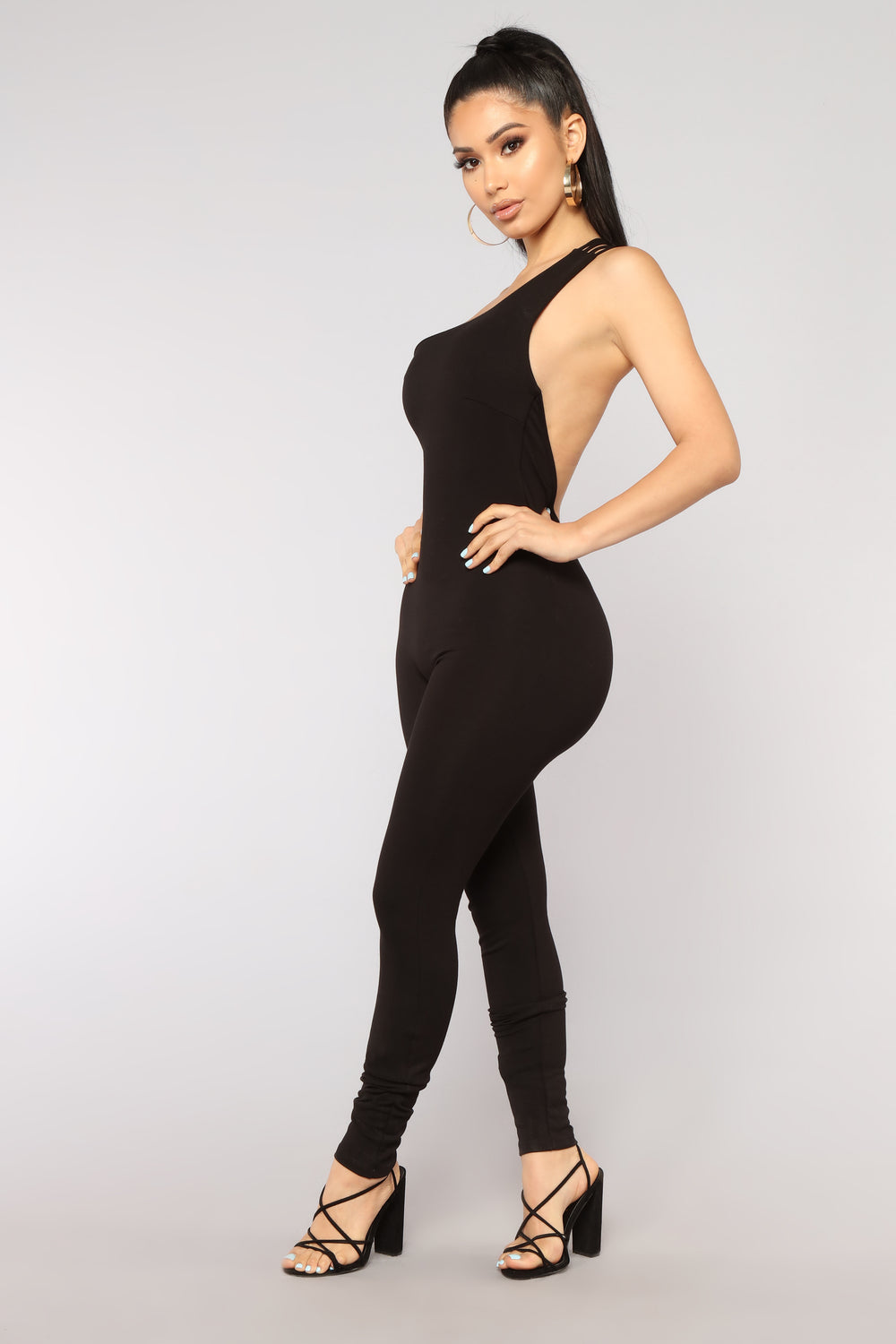 Aim For The Moon One Shoulder Jumpsuit - Black