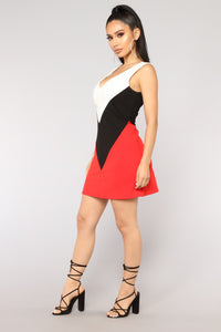 Major Authority Colorblock Dress - Black/Red