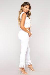 Grover Studded II High Rise Jeans - White Angle 4