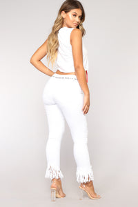 Grover Studded II High Rise Jeans - White Angle 6