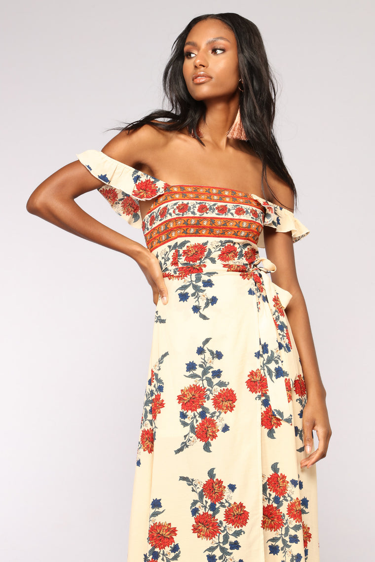 Field Day Wrap Dress - Beige Multi