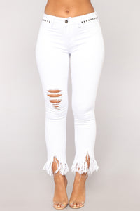 Grover Studded II High Rise Jeans - White Angle 1