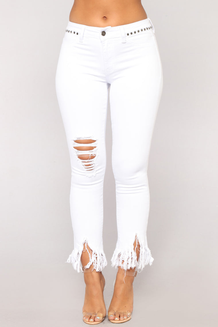 Grover Studded II High Rise Jeans - White