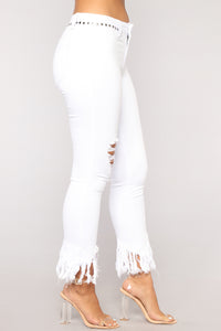 Grover Studded II High Rise Jeans - White Angle 3
