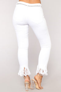 Grover Studded II High Rise Jeans - White Angle 5