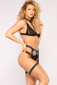 Strapped Up Lace 2 Piece Set - Black