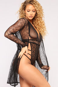 Exposed Lace Robe - Black