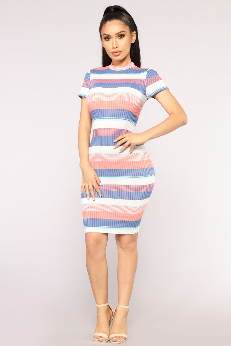 Willow Striped Dress - Blue