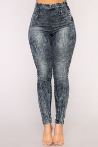 High Waist Honey Jeans - Acid Wash Blue Angle 2