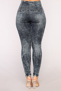 High Waist Honey Jeans - Acid Wash Blue Angle 6