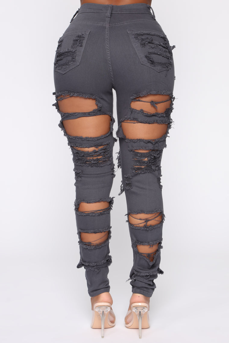 Things Are Looking Up Distressed Jeans - Grey