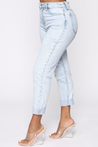 I Got It From My Mama Jeans - Light Blue Wash Angle 4