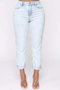 I Got It From My Mama Jeans - Light Blue Wash Angle 1