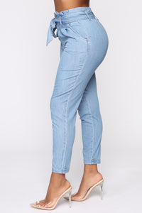 Milan High Rise Jeans - Light Blue Wash Angle 4