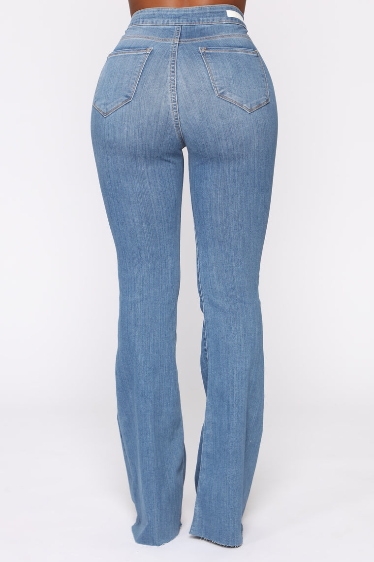The Time Is Now High Rise Flare Jeans - Medium Blue Wash