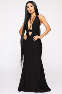 Call The Limo Halter Maxi Dress - Black